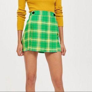 Topshop Lime Green Plaid Mini Skirt Kilt Mod Retro